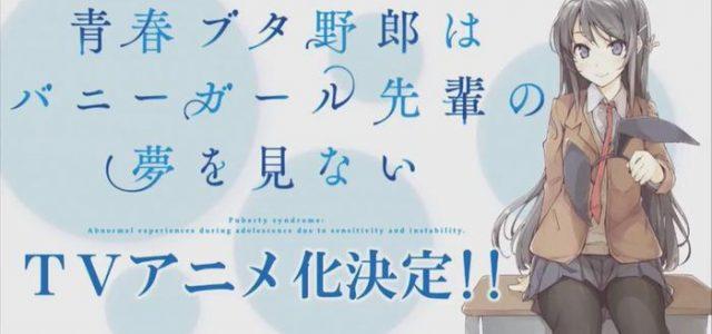 Le roman Seishun Buta Yarou adapté en anime